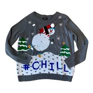 Premise Snowman Chill Gray Christmas Sweater L